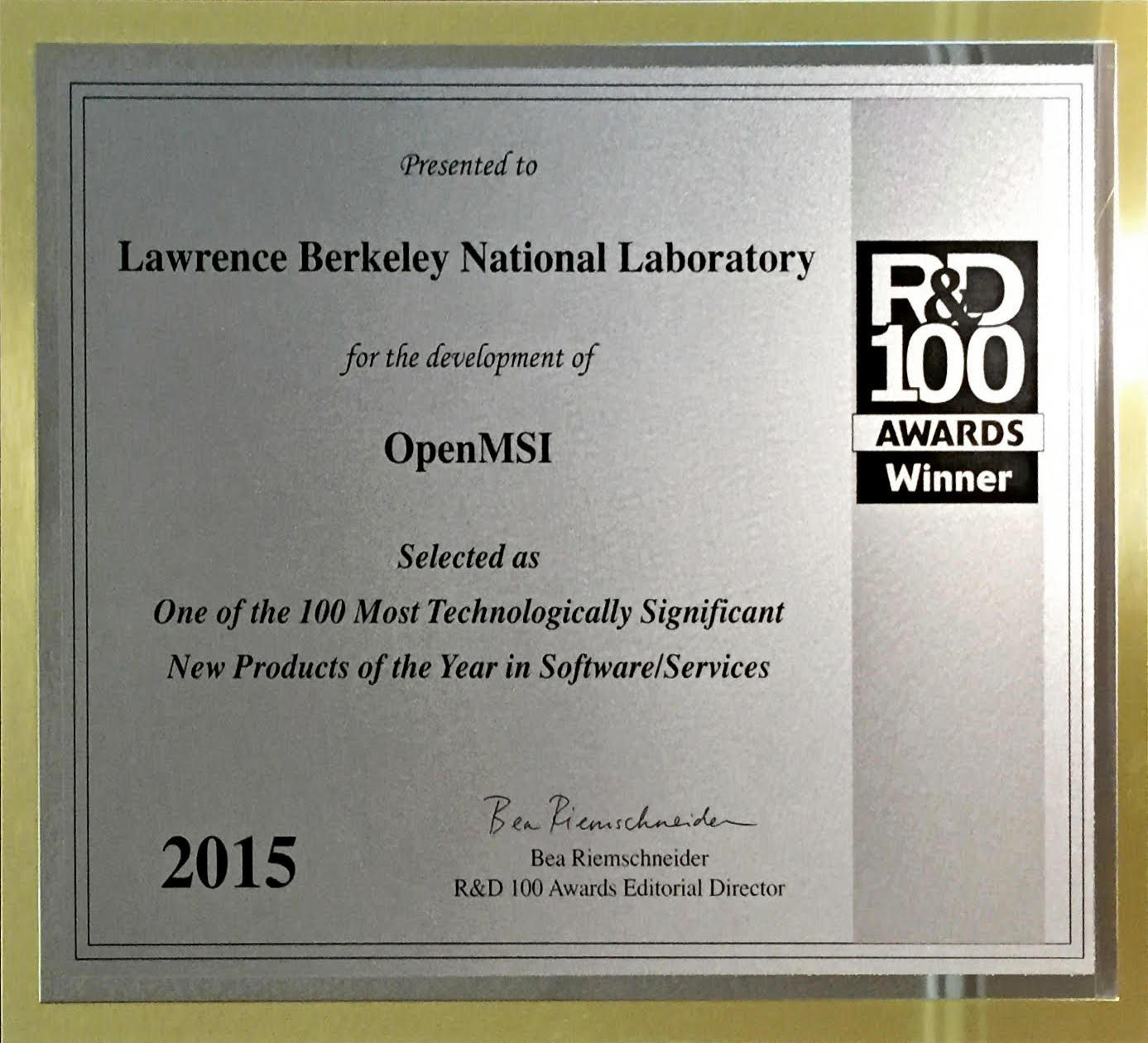 OpenMSI Receives R&D 100 Award